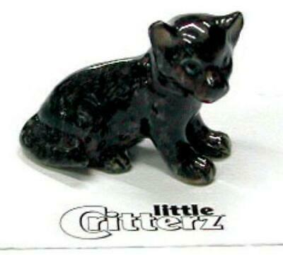 "Little Critterz Miniature Porcelain Animal Black Panther Cub ""Stealth"" LC124"