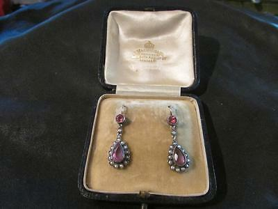 Beautiful Antique 9ct Gold, Silver, Gemstone & Seed Pearl Drop Earrings, Boxed