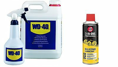 Wd40 + Applicator Bottle 5 Litre 5L And 3In1 Silicone Lubricant 400Ml