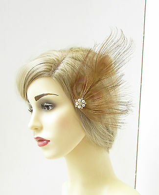 Old Gold Bronze Peacock Feather Fascinator Hair Clip Ivory 1920s Silver Vtg 281