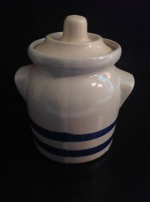 Sale! Blue and Gray/White Stoneware Crock with Lid, Blue Stripe Vintage