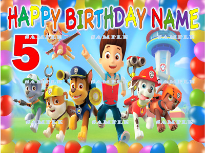 PAW PATROL: personalized Edible Image Cake Topper FREE SHIPPING