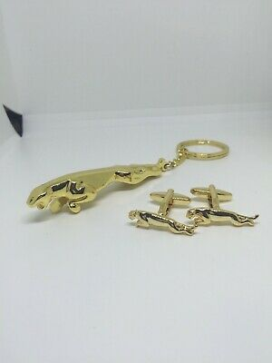 LEAPING JAGUAR luxurious SILVER and gold CUFFLINKS 24k( gp)gold
