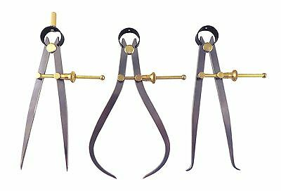 """Set 6""""/150 Brass Spring Dividers, Inside & Outside Calipers, Quick Nut, C7/8/9-6"""