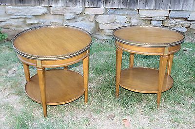 Pair of Mid Century End Tables with Brass Rails