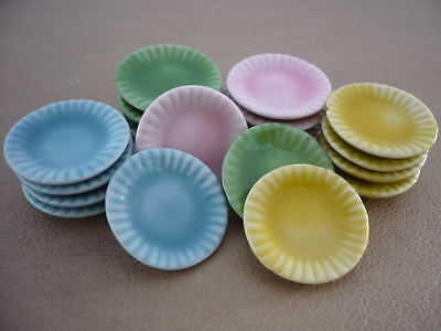20x20 mm. Mix Colorful Round Dish Dollhouse Miniatures Ceramic Food Supply Deco