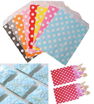 25/50Pcs Polka Dot Spotty Paper Bag Without Handle Wedding Party Candy Gift Bags