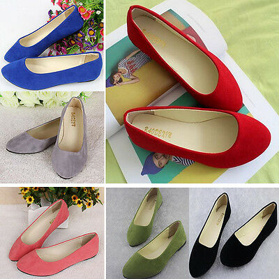 HOT  Womens Ballerina Ballet Dolly Pumps Ladies Flats Loafers Single Boat Shoes