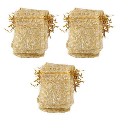 100 Gold Eyelash Organza Jewelry Pouch Wedding Party Favor Gift Bag 12x9cm
