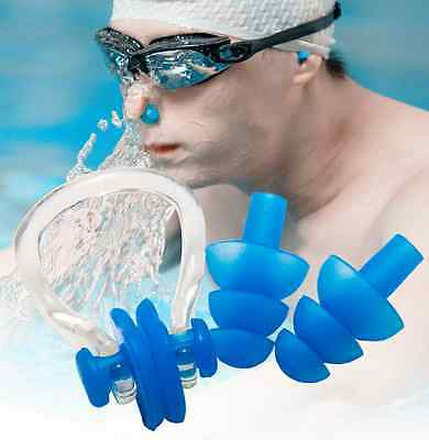 Silicone Ear Plugs / Nose Clip Combo Set +Case Swimming Water Pool Sea Summer US