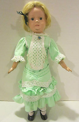 "Vintage 20"" Schoenhut jointed wooden doll, painted features - blond mohair wig"
