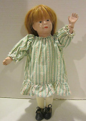 """Vintage 15.5"""" Schoenhut jointed wooden doll, painted features - natural hair wig"""