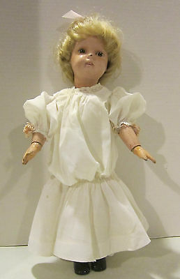 "Vint 17"" Schoenhut jointed wooden doll, painted features -brown eyes -orig paint"