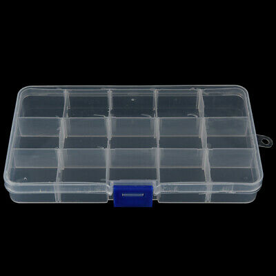 Adjustable 15 Compartment Plastic Fly Fishing Lures Hook Assortment Baits Box