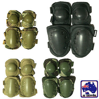 2x Knee Support + 2x Elbow Pads Protector Tactical Combat Protective Set OKNE254