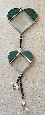 Handmade Stained glass Green Bevelled hearts..suncatchers...Great gift idea...#1