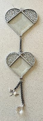 Handmade Stained glass Clear Bevelled hearts..suncatchers...Great gift idea...#3