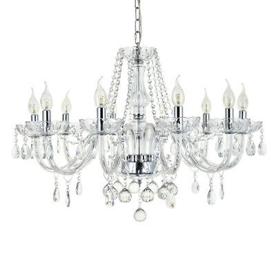 Crystal Chandelier 6/8/10 Arms Chrome Ceiling Lights Candle Pendant Lamp