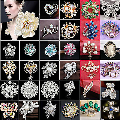 NT Wedding Bridal Men Rhinestone Crystal Pearl Animal Flower Broach Brooch Pin