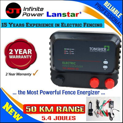 Professional Reliable 50km 5J Electric Electric Fence Charger+Bonus Fence Tester