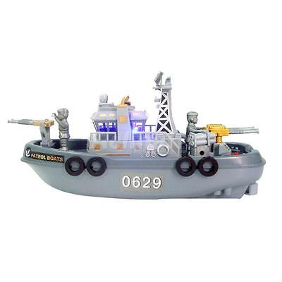 Electric Mini Marine Patrol Boat Child Educational Toy Military Ship Model