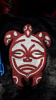 Native Beaded Medallion Turtle Mask Haida Style