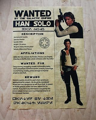 Star Wars Han Solo Wanted Poster Mos Eisley Reward Poster Unique Design