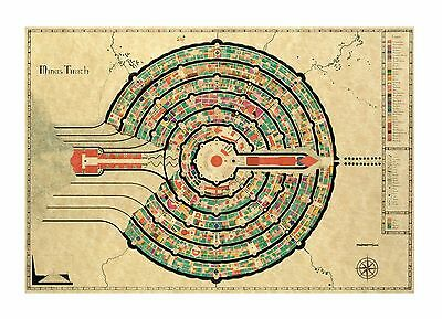 Minas Tirith Lord of the Rings - Waxed Parchment Paper Map NEW