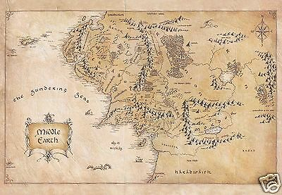 Middle-earth Map Lord of the Rings - Waxed Parchment Paper - NEW