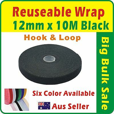 12mm x 10M Black Reuseable Magic Cable Ties Wrap Strap Hook & Loop