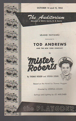Mister Roberts Tod Andrews Program October 14 1952 Playgoer