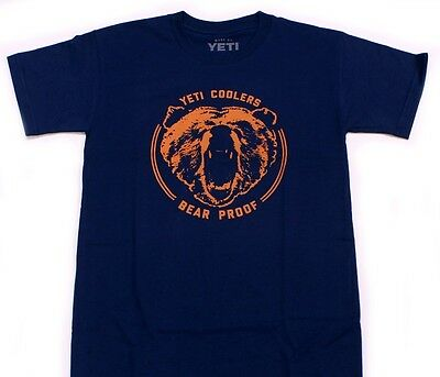 Yeti Coolers Blue Bear Proof Logo T-Shirt - Navy & Orange