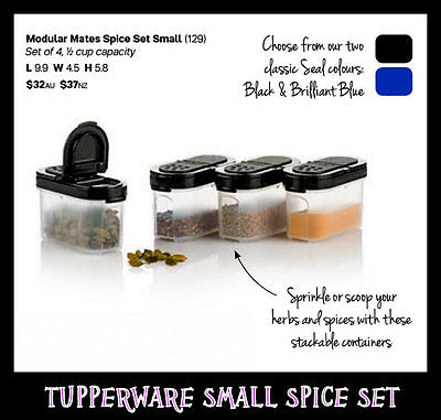 BNIP Tupperware SMALL Spice Set (4) Black 1/2 Cup Capacity