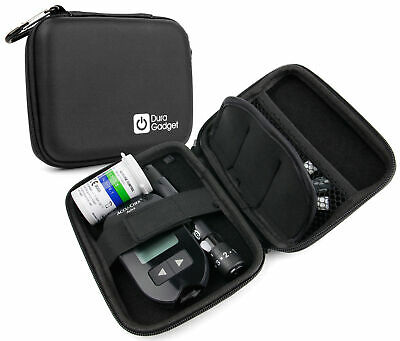 Rigid Black Case For Insulin / Glucose Monitor / Diabetes Medical Supplies