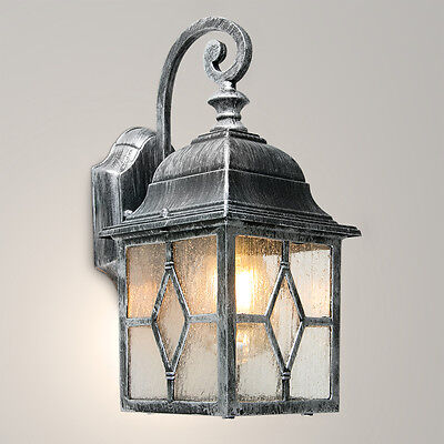 Traditional Vitnage Black & Silver Outdoor LED Wall Lantern IP44 Garden Light