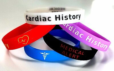 5x CARDIAC history Wristband MEDICAL AWARENESS ALERT BRACELET Glow in the Dark
