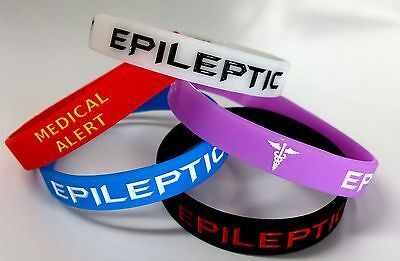 5x EPILEPTIC Wristband MEDICAL Epilepsy Sufferer ALERT BRACELET Glow in the Dark