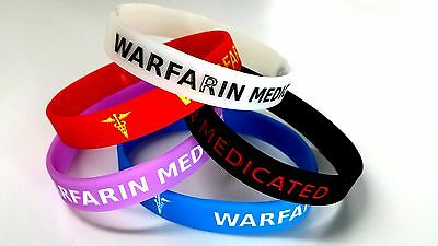 5x WARFARIN Medicated Wristband MEDICAL AWARENESS ALERT BRACELET Glow in Dark