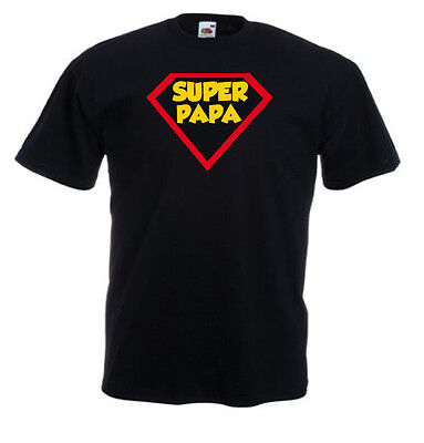 T-shirt noir homme manches courtes Fruit Of The Loom SUPER PAPA