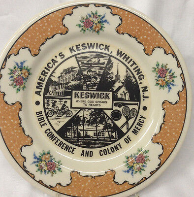 """America's Keswick Whiting Bible Colony Of Mercy 8.5"""" Plate Chalfoute Hadden Hall"""