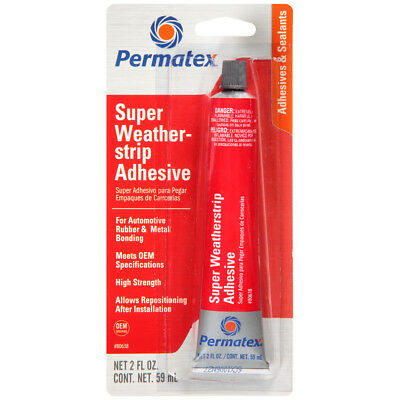 PERMATEX 80638 SUPER WEATHERSTRIP ADHESIVE Auto Rubber Metal Carpet Gaskets 2oz