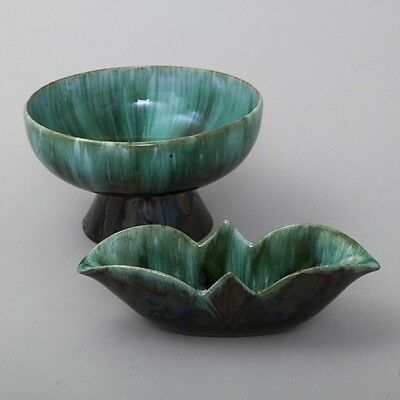 Pair of 2 Blue Mountain Pottery Decorative Bowls Teal Blue Canada BMP Stamped