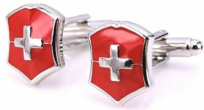 NEW Swiss Flag First Aid Red  White Cross Cufflinks Wedding Military Men`s Lady