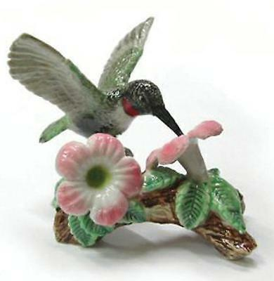 Northern Rose Miniature Porcelain Bird Figure Hummingbird on Flower R164