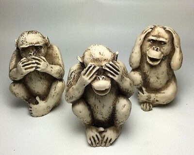 See Hear and Speak no evil monkey figurines   Not Marked