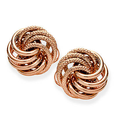 14k Rose Gold Polished & Textured Love Knot Post Earrings - SKU #97374