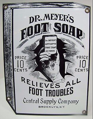 Porcelain Dr Meyer's Foot Soap Sign 'Relieves All ..' Quack Medicine Brooklyn NY