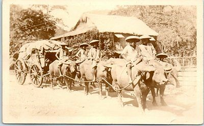 Vintage Philippines RPPC Real Photo Postcard Train of Oxen & Cart