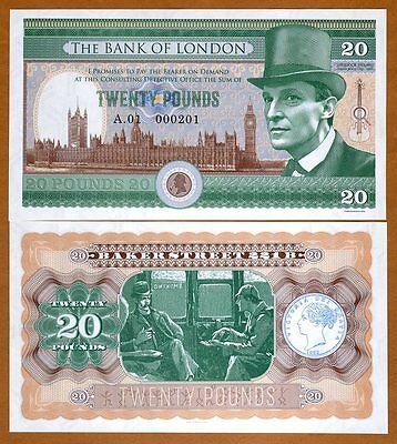 Great Britain, 20 pounds, 2016, Private Issue, UNC, Sherlock Holmes
