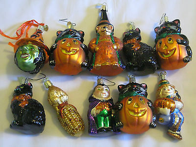 OLD WORLD CHRISTMAS Halloween FALL Thanksgiving LOT SET of 10 ORNAMENTS  NEW